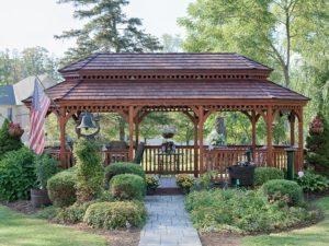 Pressure treated stained New England w/ cedar shake roof, pagoda