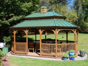 Pressure treated stained New England w/ metal roof, pagoda, cupola