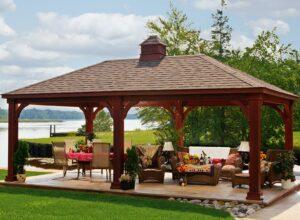 Traditional Wood Pavilion mahogany stain w/ cupola